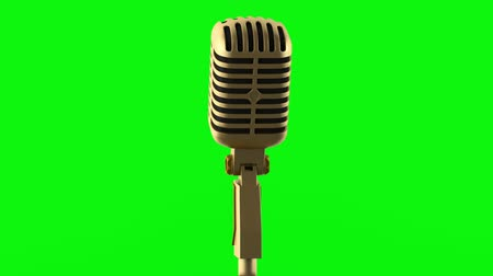 golden vintage microphone loop rotate on green chromakey background