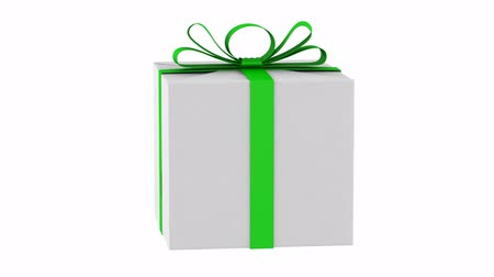 gift box with green ribbon and bow loop rotate on white background