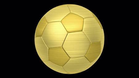 golden soccer ball loop rotate on black background