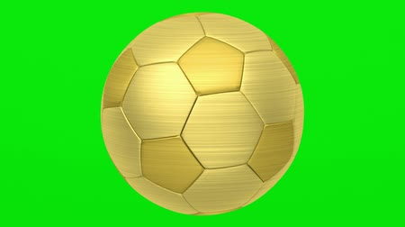 golden soccer ball loop rotate on green chromakey background Stok Video