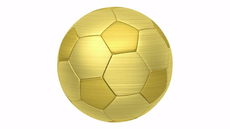 golden soccer ball loop rotate on white background