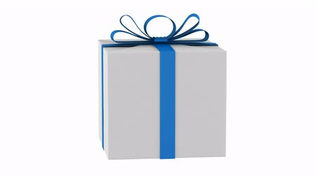 tektura : gift box with blue ribbon and bow loop rotate on white background Wideo