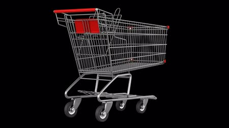 empty shopping cart loop rotate on black background Stok Video
