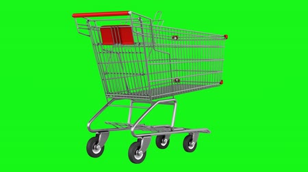 empty shopping cart loop rotate on green chromakey background
