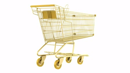kordé : empty golden shopping cart loop rotate on white background