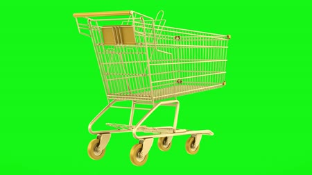 empty golden shopping cart loop rotate on green chromakey background Stok Video