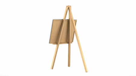 blank : wooden easel with blank canvas loop rotate on white background