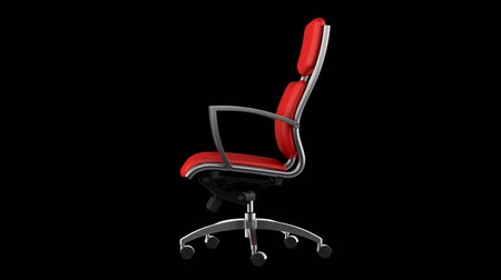 clipping path : modern red office chair loop rotate on black background