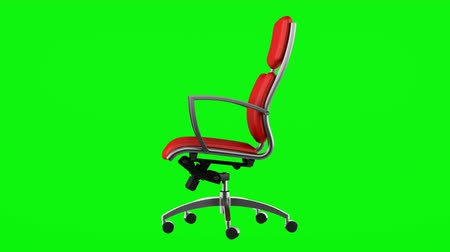 clipping path : modern red office chair loop rotate on green chromakey background