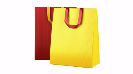 buys : two red and yellow shopping bags loop rotate on white background