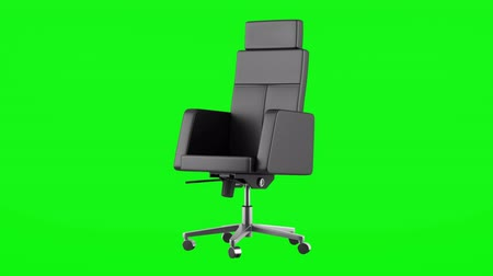modern black office chair loop rotate on green chromakey background Stok Video
