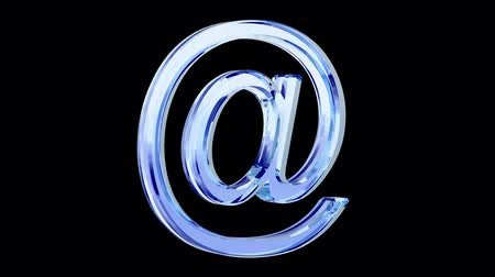 blue glass e-mail symbol loop rotate on black background