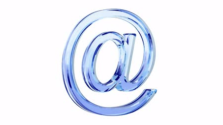 blue glass e-mail symbol loop rotate on white background Stok Video