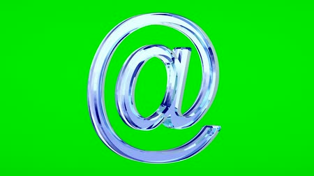 blue glass e-mail symbol loop rotate on green chromakey background Stok Video
