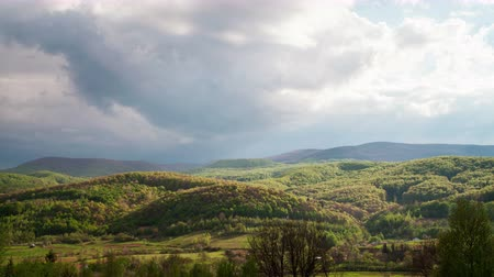 карпатская : clouds moving over Carpathian mountains time lapse