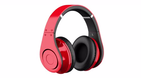 red and black wireless headphones loop rotate on white background Stok Video