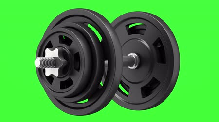 dumbbell loop rotate on green chromakey background