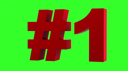 red number one loop rotate on green chromakey background