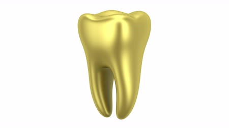 golden human tooth loop rotate on white background