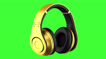 golden headphones loop rotate on green chromakey background