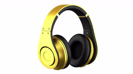 golden headphones loop rotate on white background
