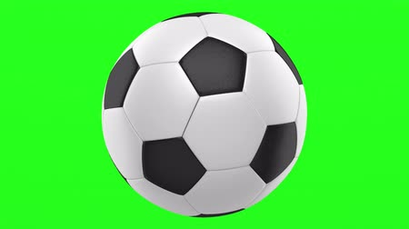 soccer ball loop rotate on green chromakey background