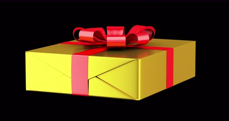gift box with red ribbon and bow loop rotate on black background