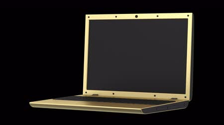 golden laptop loop rotate on black background