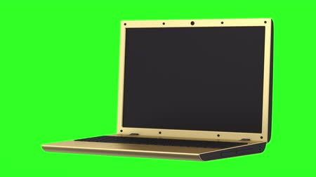 golden laptop loop rotate on green chromakey background