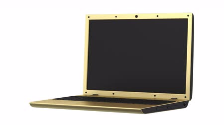 golden laptop loop rotate on white background
