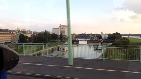 kolínská voda : Cologne, Germany - September 14, 2014: time lapse version of to drive over the rhine at the called