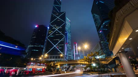 urban skyline : night light traffic road 4k time lapse from hong kong center Stock Footage