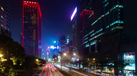 office life : night colored traffic street 4k time lapse from hong kong