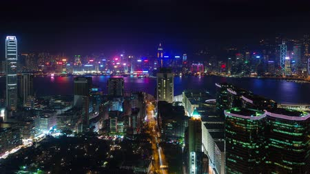 panoramic view : night light city panorama with traffic street 4k time lapse from hong kong Stock Footage
