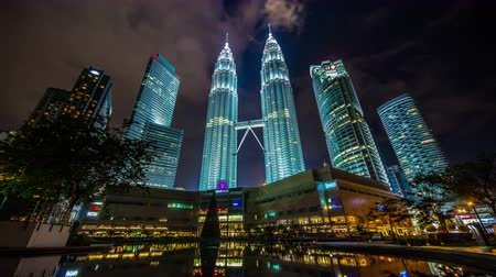office life : night light sky panoramic towers view 4k time lapse from kuala lumpur city