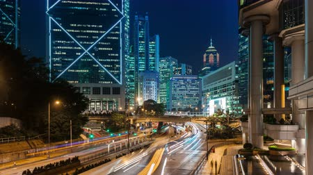 night scene : hong kong city night light traffic street business block 4k time lapse china