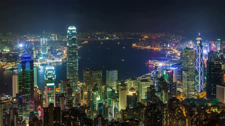 night scene : hong kong night light water traffic city panorama 4k time lapse china