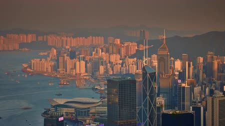 panoramic view : hong kong city sunset light bay panorama 4k time lapse china