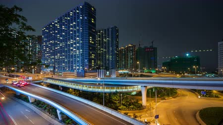 nowoczesne : hong kong city traffic crossroad living block 4k time lapse china