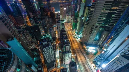 tráfego : hong kong high roof top building night light traffic street 4k time lapse china