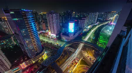 urban skyline : shenzhen night light city traffic crssroad 4k time lapse spain Stock Footage