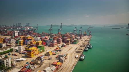 shipping : sunny day shenzhen city famous bay port panorma 4k time lapse china