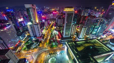 lapso de tempo : night high light shenzhen city center roof top panorama 4k time lapse china