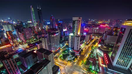 panorâmico : light night shenzhen traffic streets panoramic bird view 4k time lapse china