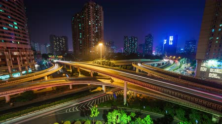 panorâmico : shenzhen city night light traffic junction 4k time lapse china Stock Footage