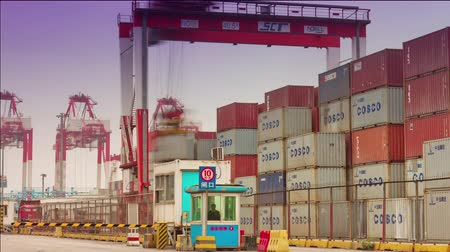 truck crane : shenzhen summer day working port panorama 4k time lapse china