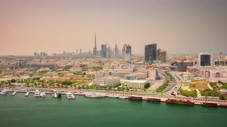 luxe : dubai sunny day city deira creek roof top panorama 4k time lapse uae Stock Footage