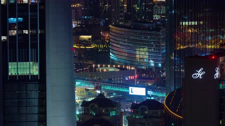 cayan tower : dubai night light city downtown traffic streets 4k time lapse uae
