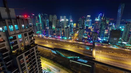 entrance : night illumination dubai marina road metro station roof top 4k time lapse uae Stock Footage