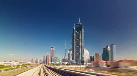 метро : summer day metro train ride across dubai city 4k time lapse uae